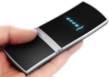 "Nokia's aeon ""full surface screen"" cellphone concept"